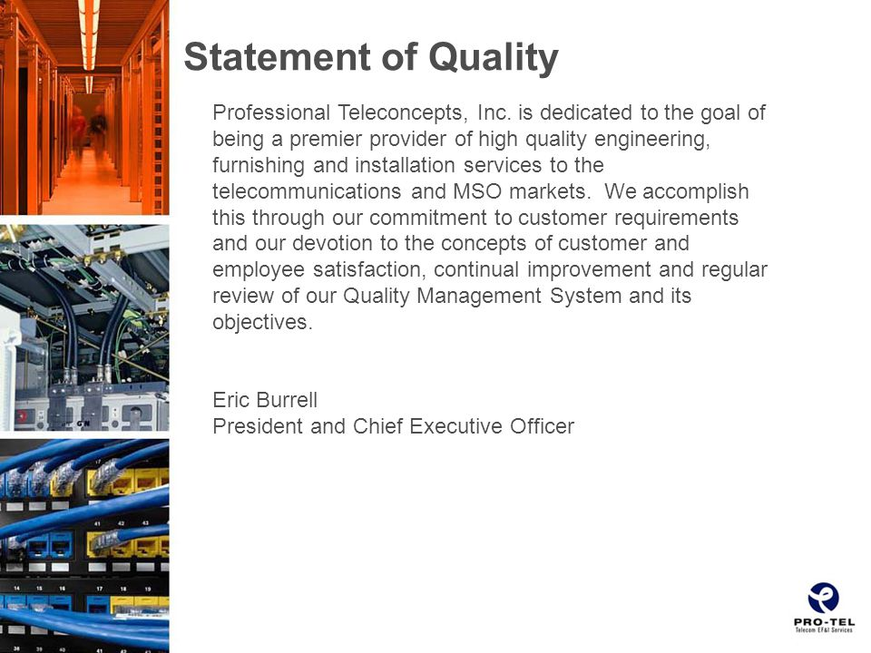 Statement of Quality Professional Teleconcepts, Inc.