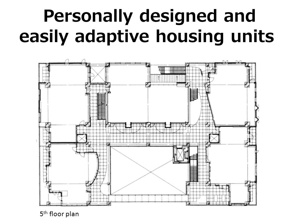 Personally designed and easily adaptive housing units 5 th floor plan