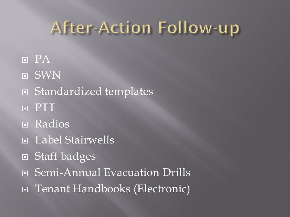  PA  SWN  Standardized templates  PTT  Radios  Label Stairwells  Staff badges  Semi-Annual Evacuation Drills  Tenant Handbooks (Electronic)
