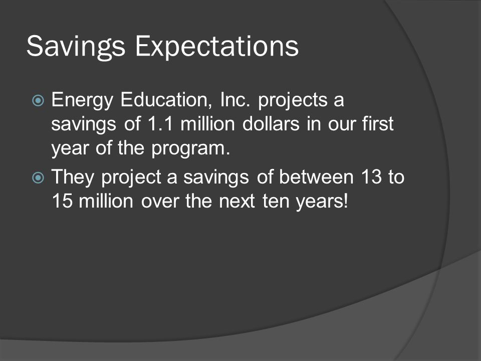 Savings Expectations  Energy Education, Inc.