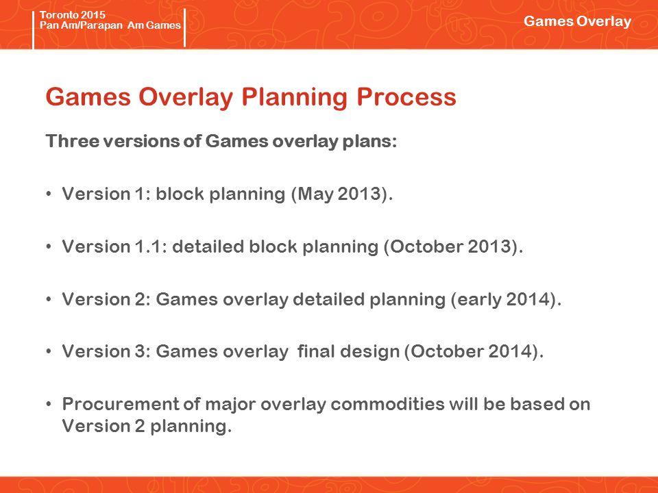 Pan/Parapan Am Toronto 2015 Pan Am/Parapan Am Games Games Overlay Planning Process Three versions of Games overlay plans: Version 1: block planning (May 2013).
