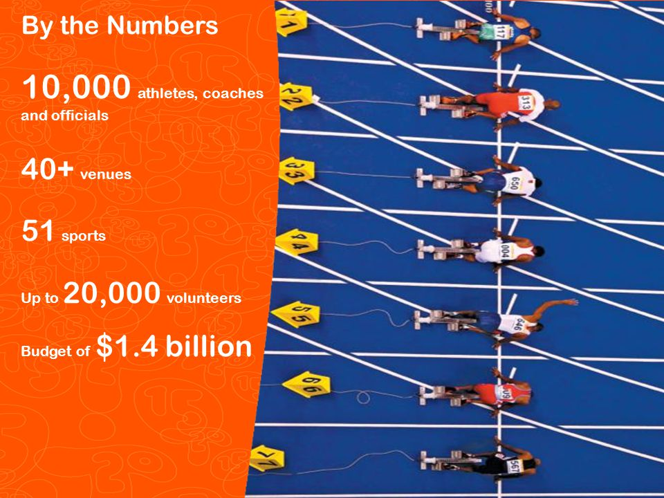 Pan/Parapan Am Toronto 2015 Pan Am/Parapan Am Games 5 By the Numbers 10,000 athletes, coaches and officials 40+ venues 51 sports Up to 20,000 volunteers Budget of $1.4 billion