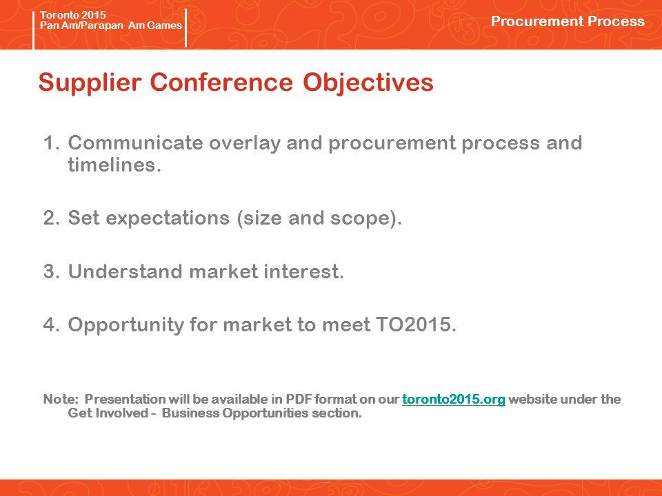 Pan/Parapan Am Toronto 2015 Pan Am/Parapan Am Games Supplier Conference Objectives 1.Communicate overlay and procurement process and timelines.