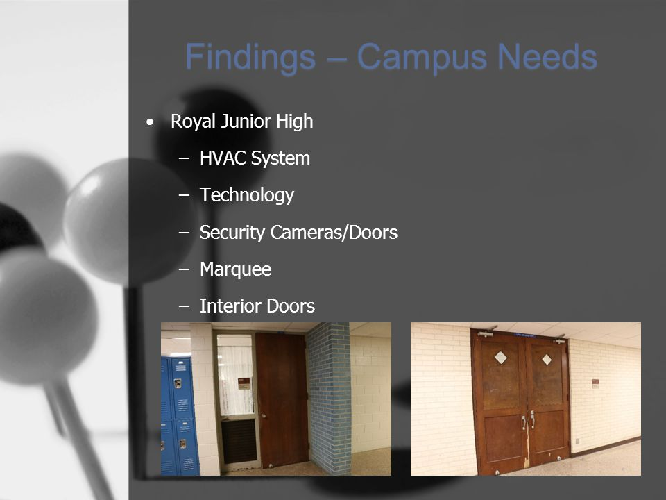Findings – Campus Needs Royal Junior High –HVAC System –Technology –Security Cameras/Doors –Marquee –Interior Doors