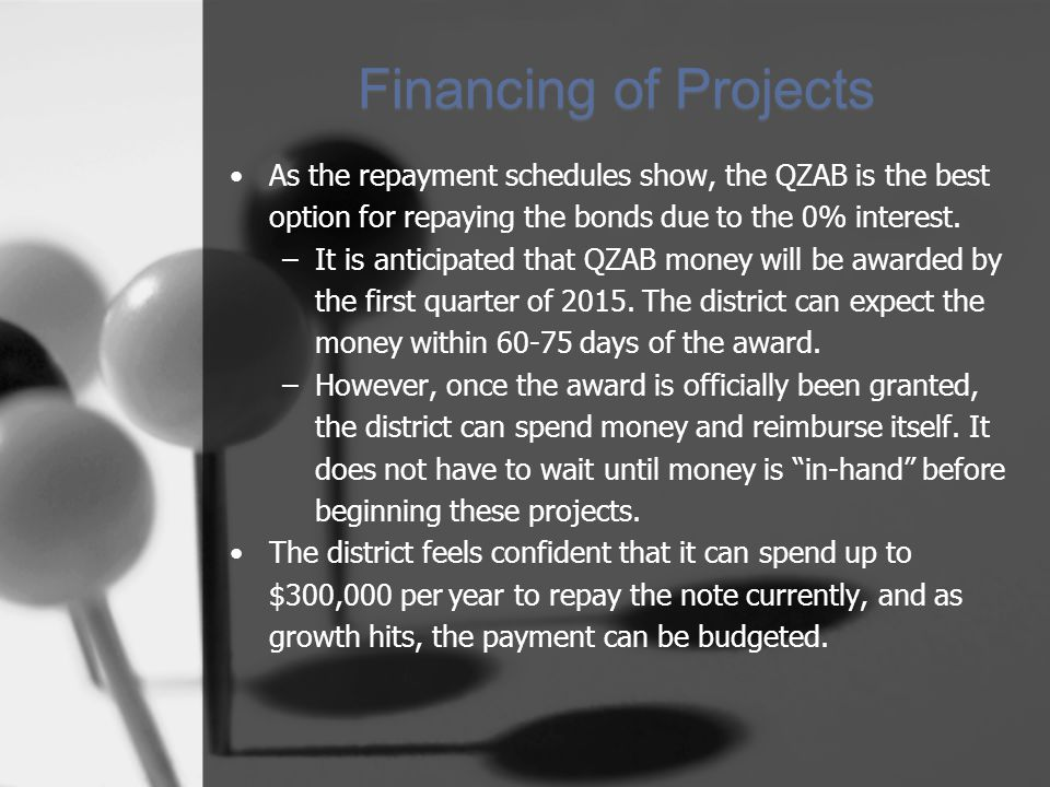 Financing of Projects As the repayment schedules show, the QZAB is the best option for repaying the bonds due to the 0% interest. –It is anticipated t