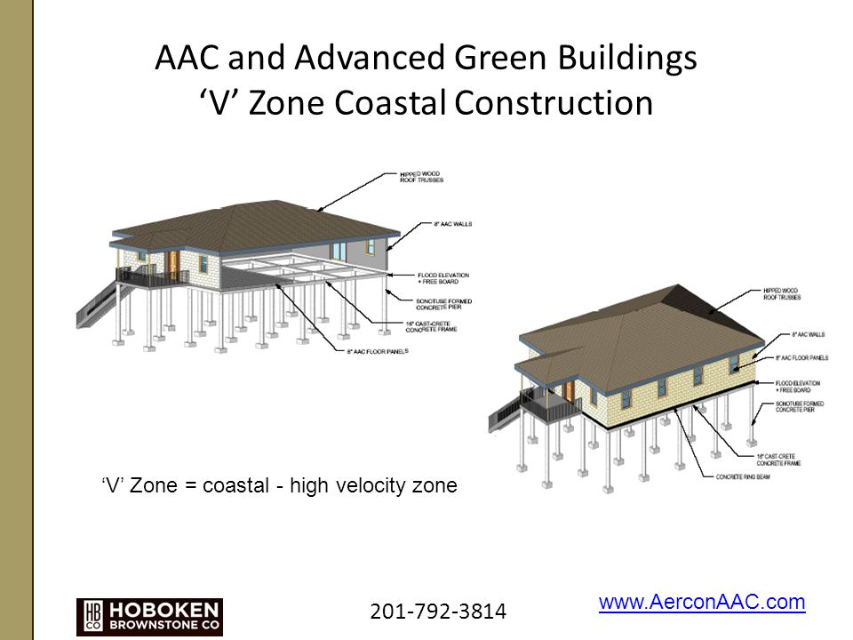 AAC and Advanced Green Buildings 'V' Zone Coastal Construction 201-792-3814 www.AerconAAC.com 'V' Zone = coastal - high velocity zone