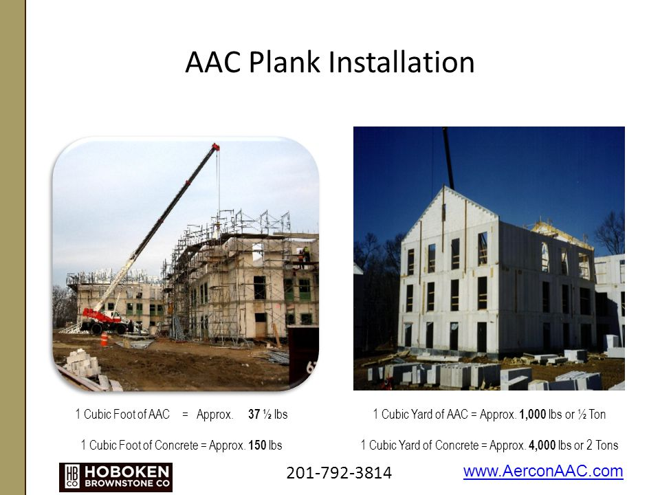 AAC Plank Installation 1 Cubic Foot of AAC = Approx.