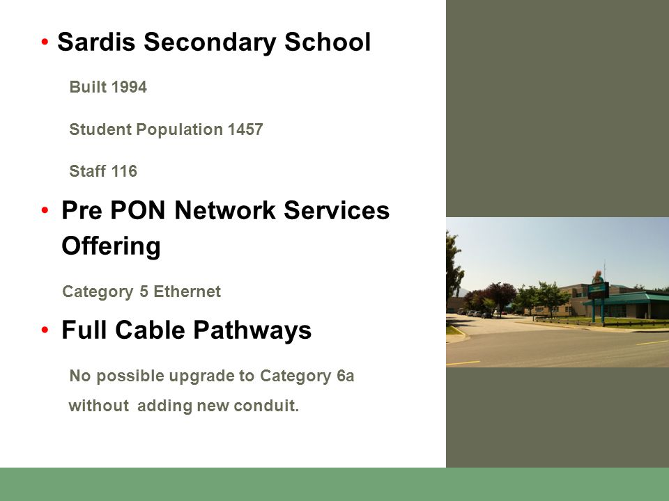 Sardis Secondary School Built 1994 Student Population 1457 Staff 116 Pre PON Network Services Offering Category 5 Ethernet Full Cable Pathways No possible upgrade to Category 6a without adding new conduit.