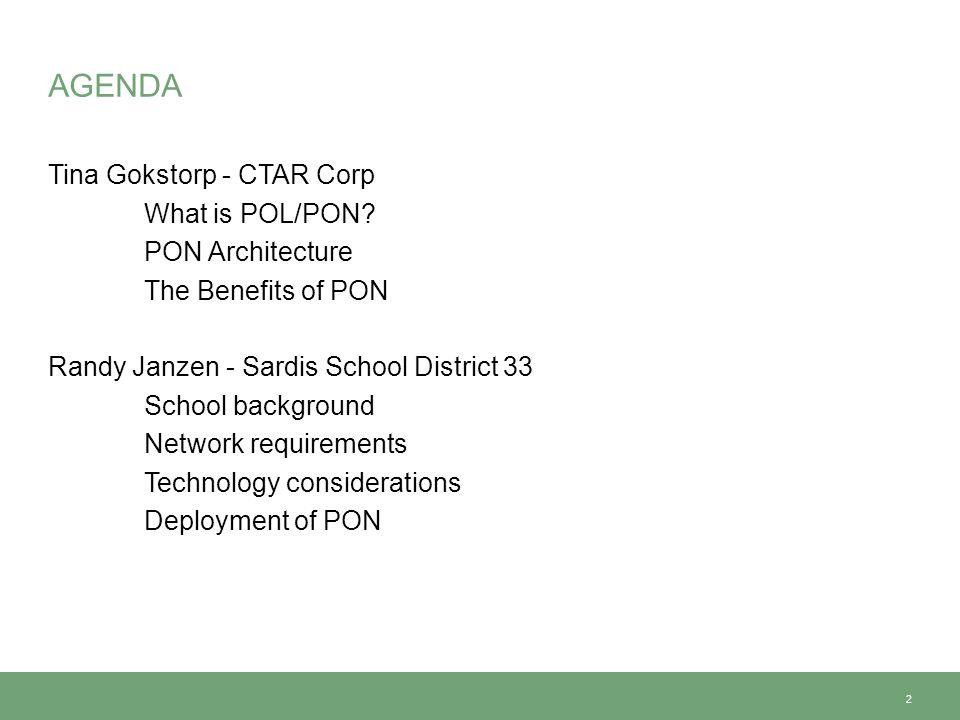 AGENDA Tina Gokstorp - CTAR Corp What is POL/PON.