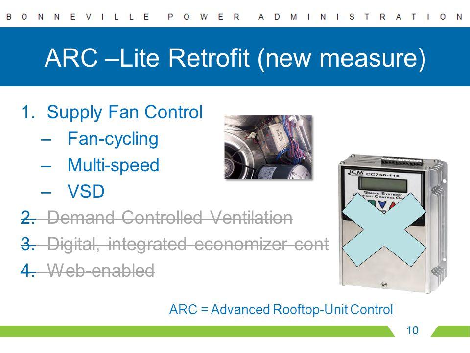 ARC –Lite Retrofit (new measure) 1.Supply Fan Control –Fan-cycling –Multi-speed –VSD 2.Demand Controlled Ventilation 3.Digital, integrated economizer control 4.Web-enabled 10 ARC = Advanced Rooftop-Unit Control