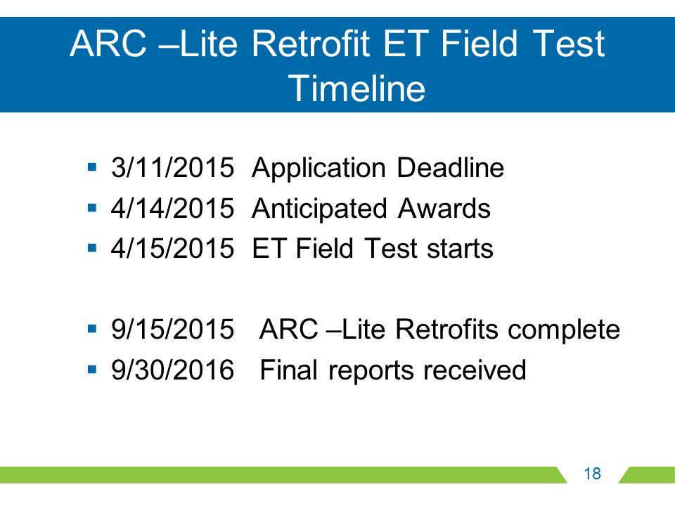 18 ARC –Lite Retrofit ET Field Test Timeline  3/11/2015 Application Deadline  4/14/2015 Anticipated Awards  4/15/2015 ET Field Test starts  9/15/2015 ARC –Lite Retrofits complete  9/30/2016 Final reports received