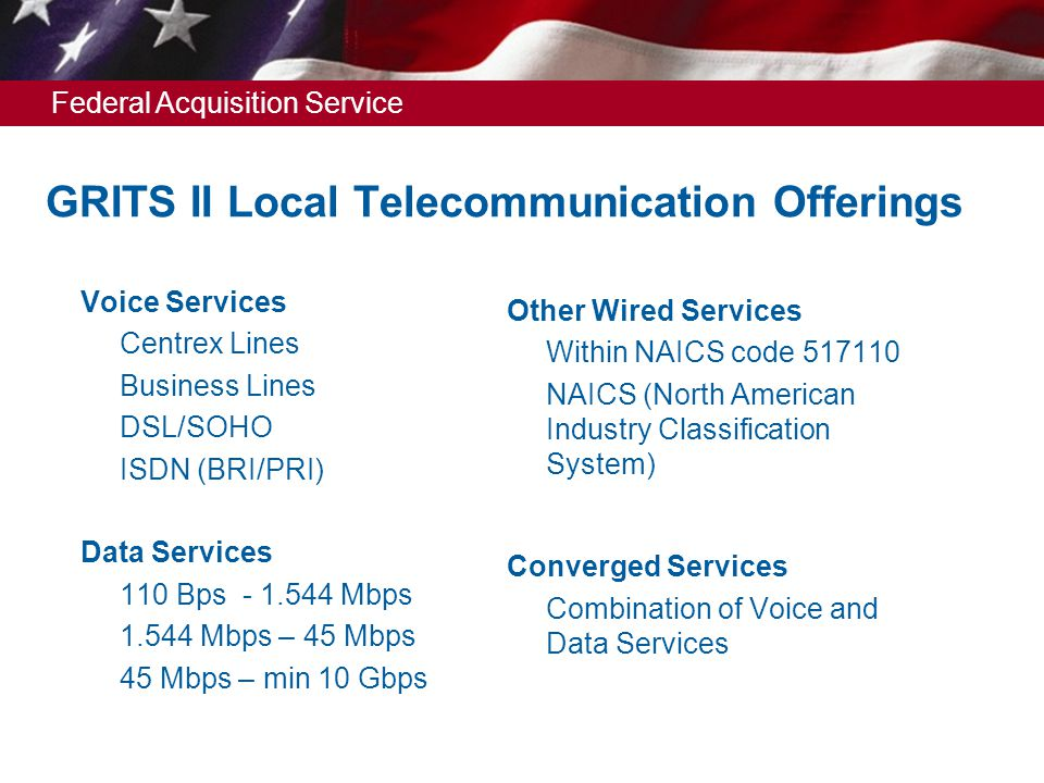 Federal Acquisition Service GRITS II Local Telecommunication Offerings Voice Services  Centrex Lines  Business Lines  DSL/SOHO  ISDN (BRI/PRI) Data Services  110 Bps - 1.544 Mbps  1.544 Mbps – 45 Mbps  45 Mbps – min 10 Gbps Other Wired Services  Within NAICS code 517110  NAICS (North American Industry Classification System) Converged Services  Combination of Voice and Data Services