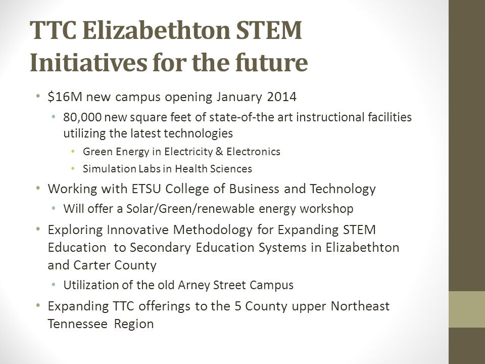 TTC Elizabethton STEM Initiatives for the future $16M new campus opening January 2014 80,000 new square feet of state-of-the art instructional facilit