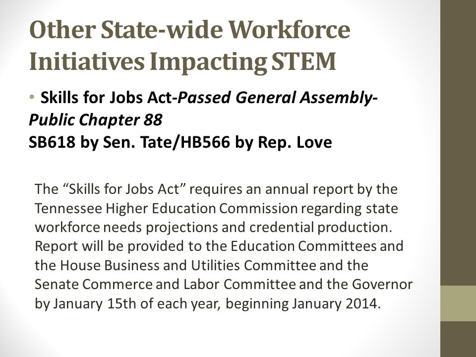 Other State-wide Workforce Initiatives Impacting STEM Skills for Jobs Act-Passed General Assembly- Public Chapter 88 SB618 by Sen.
