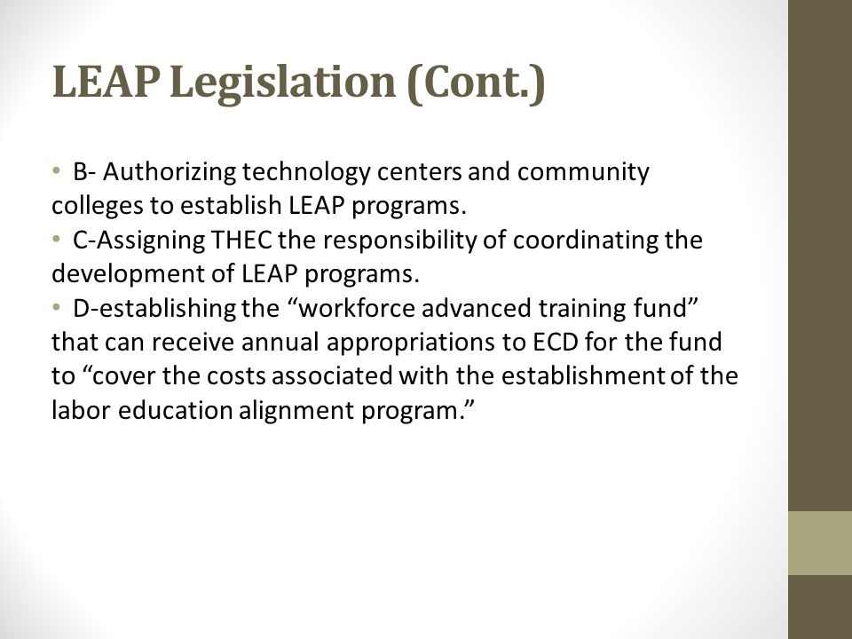 LEAP Legislation (Cont.) B- Authorizing technology centers and community colleges to establish LEAP programs. C-Assigning THEC the responsibility of c