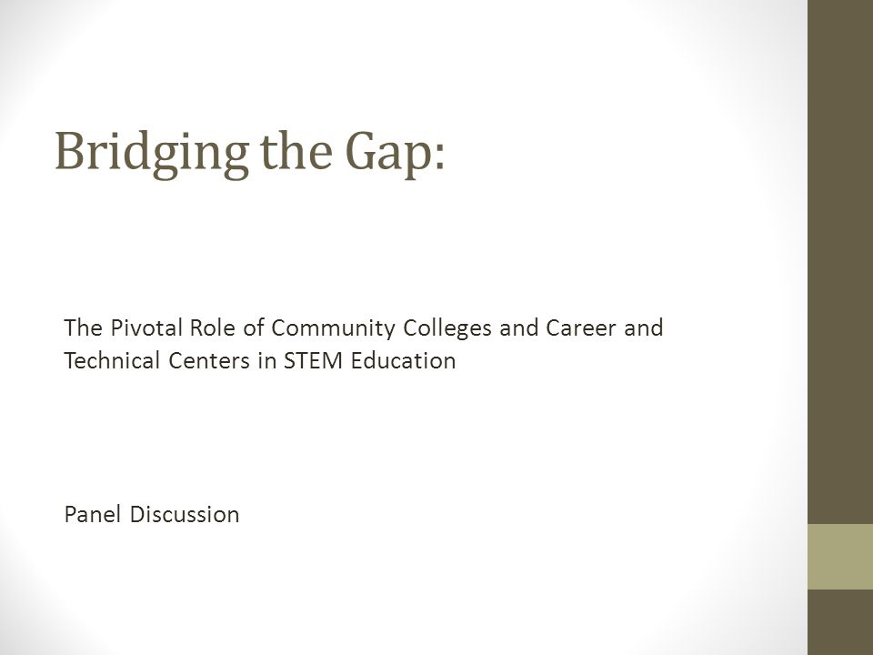 Bridging the Gap: The Pivotal Role of Community Colleges and Career and Technical Centers in STEM Education Panel Discussion