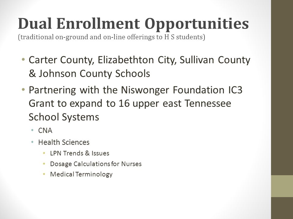 Dual Enrollment Opportunities (traditional on-ground and on-line offerings to H S students) Carter County, Elizabethton City, Sullivan County & Johnson County Schools Partnering with the Niswonger Foundation IC3 Grant to expand to 16 upper east Tennessee School Systems CNA Health Sciences LPN Trends & Issues Dosage Calculations for Nurses Medical Terminology