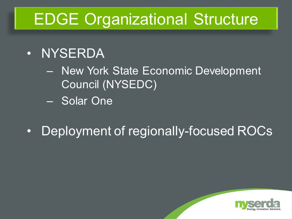 NYSERDA –New York State Economic Development Council (NYSEDC) –Solar One Deployment of regionally-focused ROCs EDGE Organizational Structure