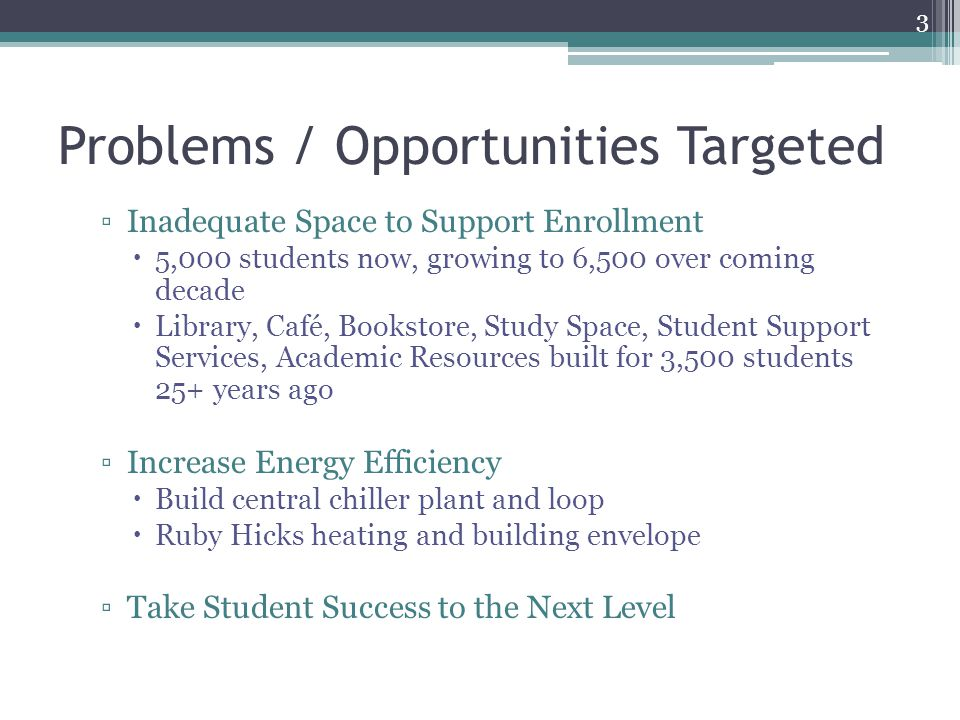 Problems / Opportunities Targeted ▫Inadequate Space to Support Enrollment  5,000 students now, growing to 6,500 over coming decade  Library, Café, Bookstore, Study Space, Student Support Services, Academic Resources built for 3,500 students 25+ years ago ▫Increase Energy Efficiency  Build central chiller plant and loop  Ruby Hicks heating and building envelope ▫Take Student Success to the Next Level 3
