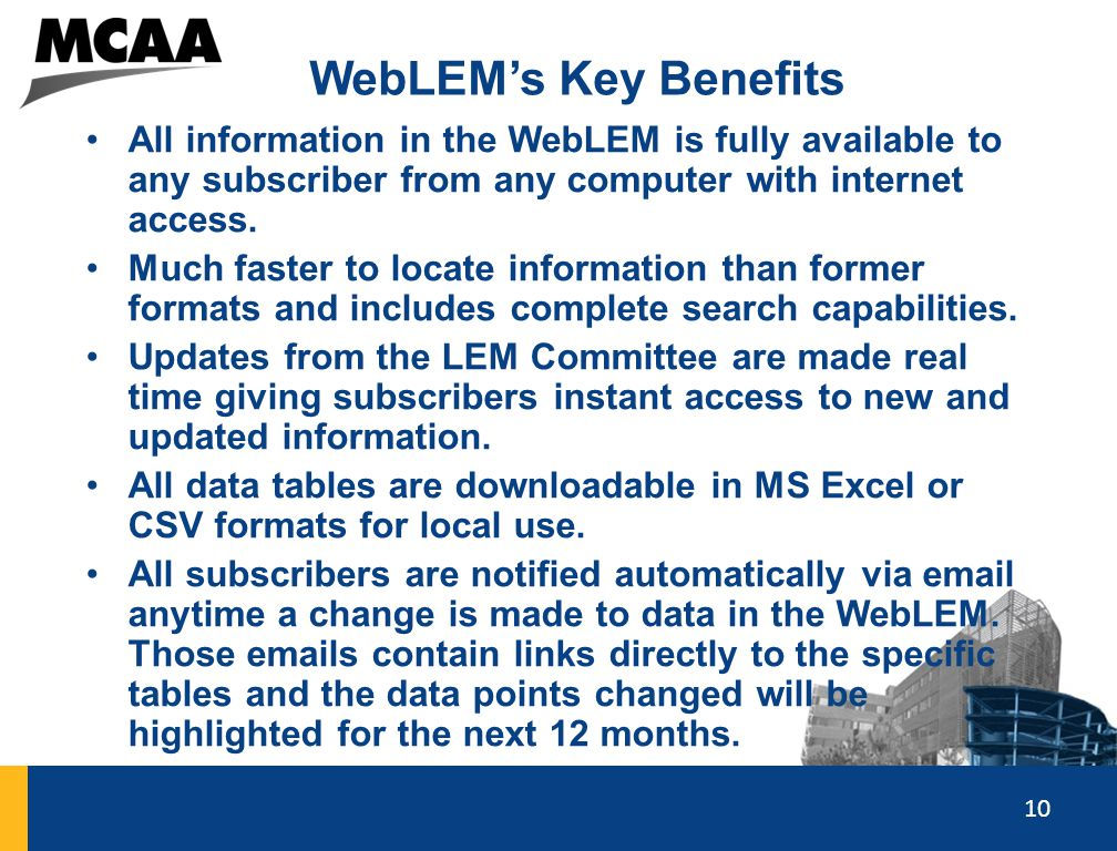10 WebLEM's Key Benefits All information in the WebLEM is fully available to any subscriber from any computer with internet access. Much faster to loc