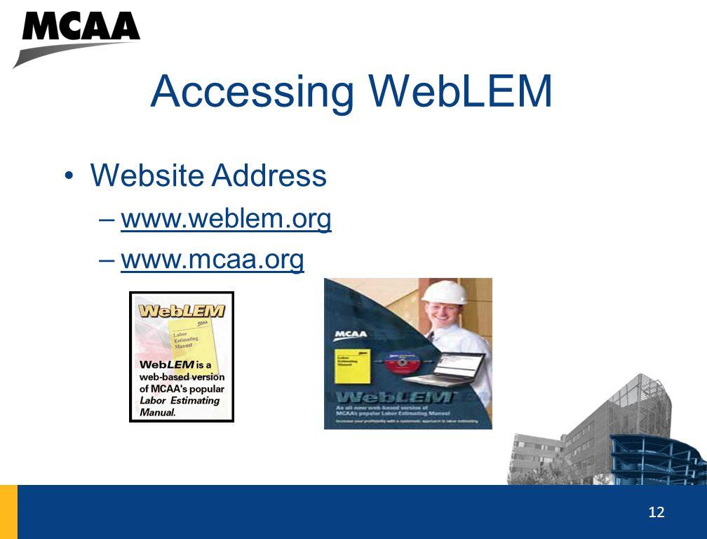 12 Accessing WebLEM Website Address –www.weblem.orgwww.weblem.org –www.mcaa.orgwww.mcaa.org 12