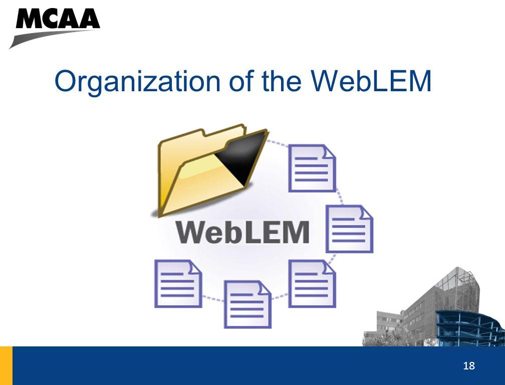 18 Organization of the WebLEM 18