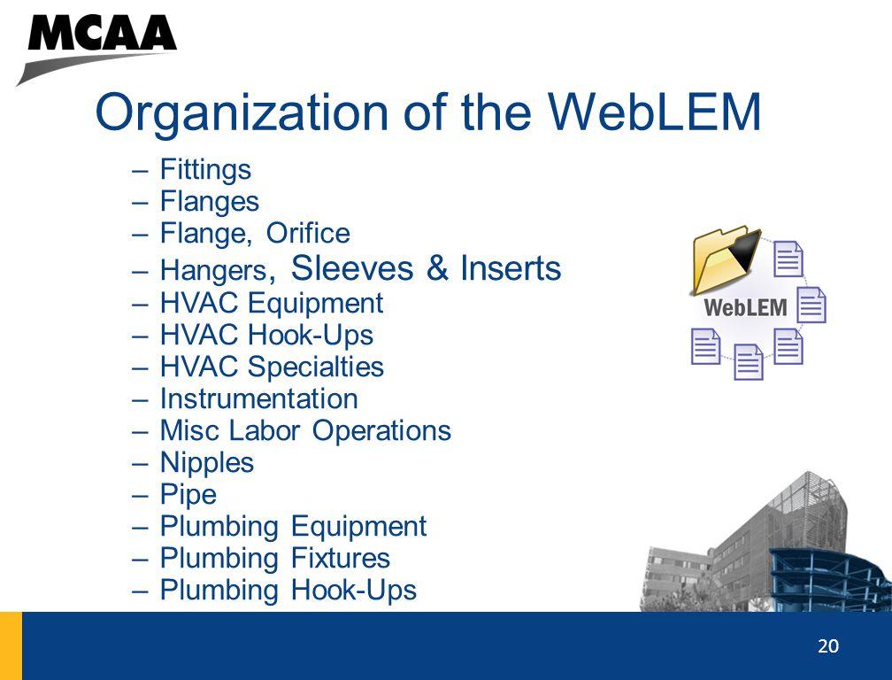 20 Organization of the WebLEM –Fittings –Flanges –Flange, Orifice –Hangers, Sleeves & Inserts –HVAC Equipment –HVAC Hook-Ups –HVAC Specialties –Instru