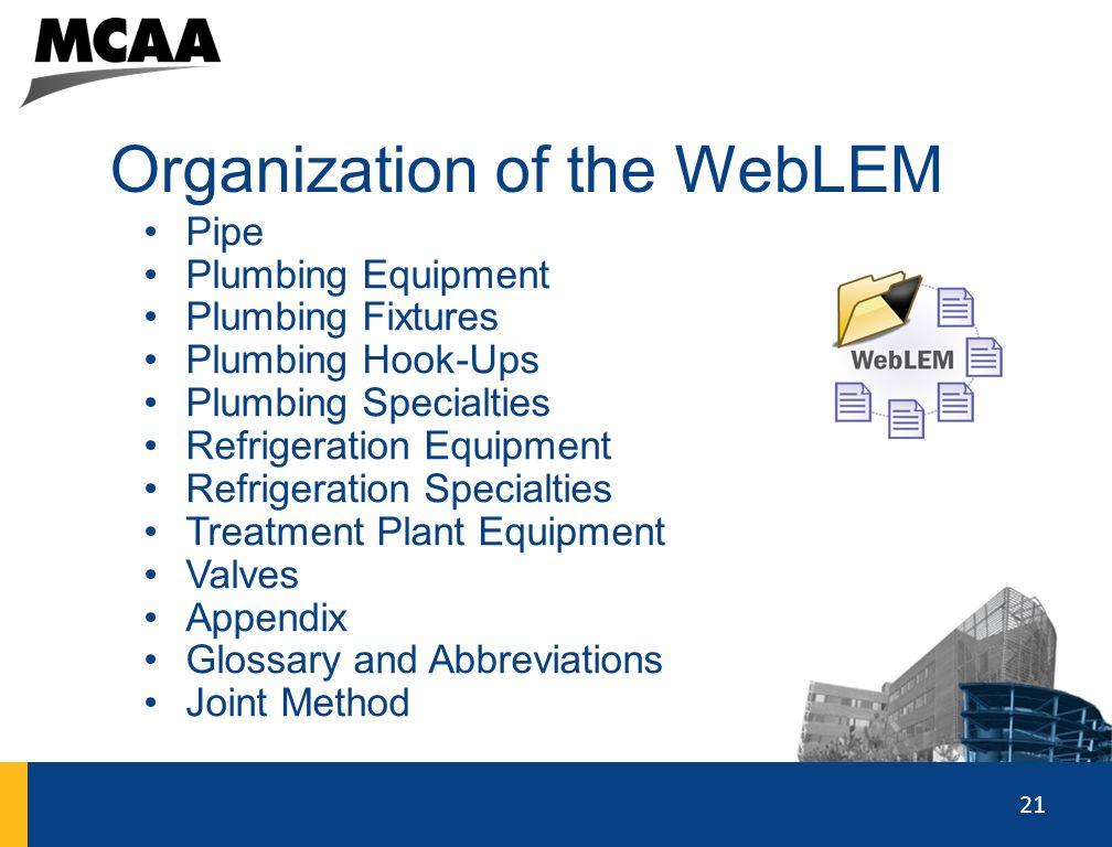 21 Organization of the WebLEM Pipe Plumbing Equipment Plumbing Fixtures Plumbing Hook-Ups Plumbing Specialties Refrigeration Equipment Refrigeration S