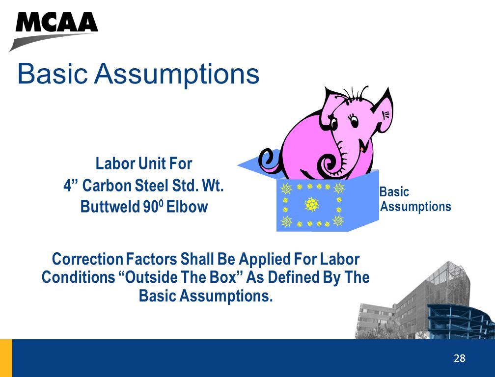 """28 Basic Assumptions 2121 Labor Unit For 4"""" Carbon Steel Std. Wt. Buttweld 90 0 Elbow Correction Factors Shall Be Applied For Labor Conditions """"Outsid"""