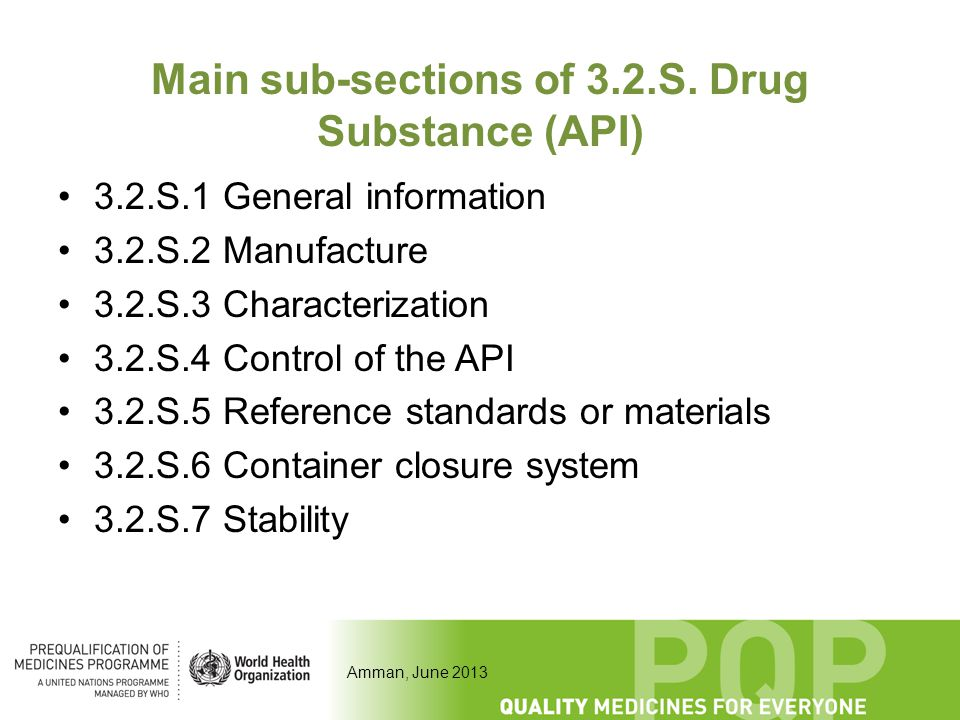 Amman, June 2013 Main sub-sections of 3.2.S. Drug Substance (API) 3.2.S.1 General information 3.2.S.2 Manufacture 3.2.S.3 Characterization 3.2.S.4 Con