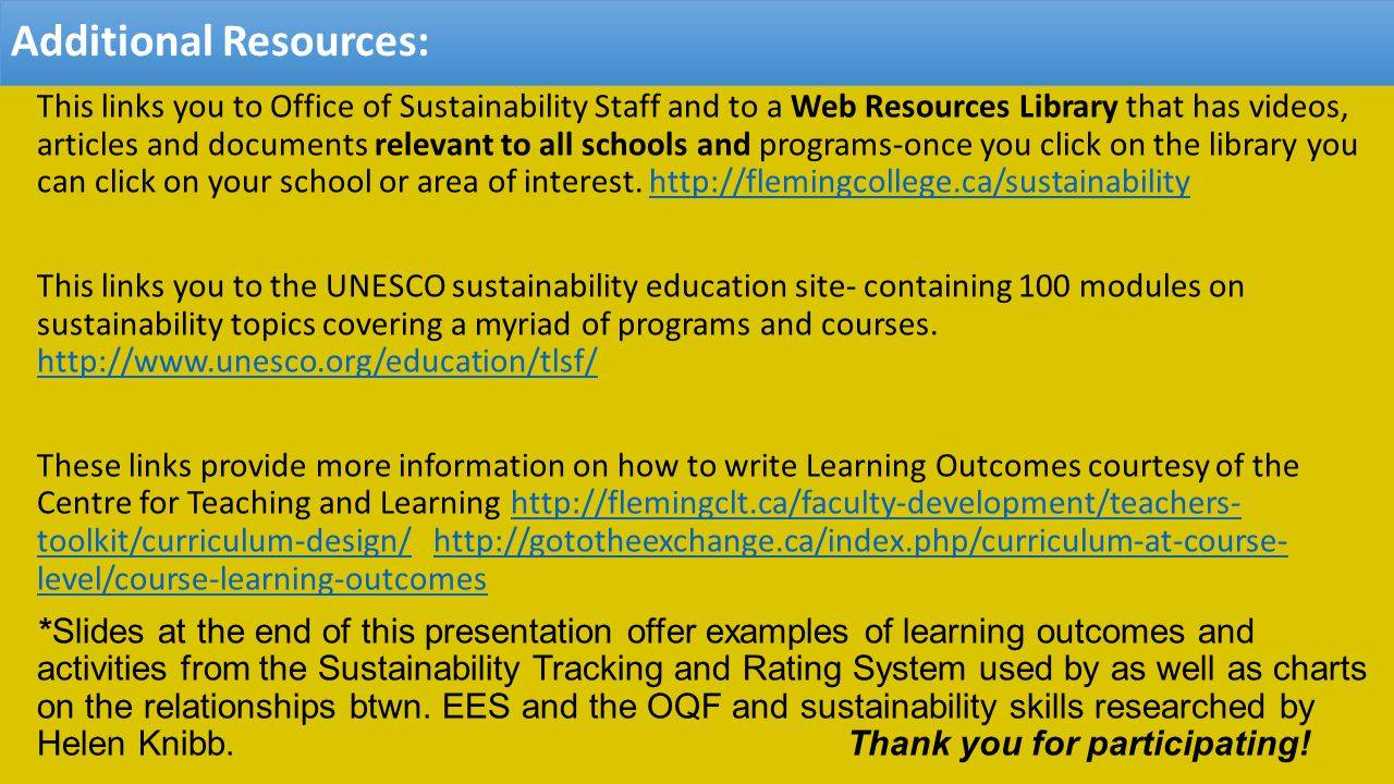 Additional Resources: This links you to Office of Sustainability Staff and to a Web Resources Library that has videos, articles and documents relevant to all schools and programs-once you click on the library you can click on your school or area of interest.