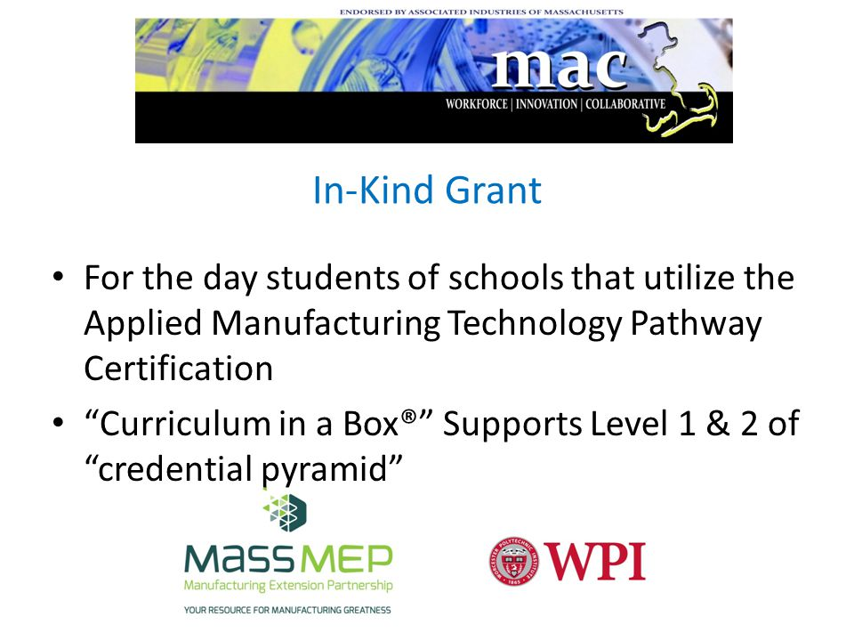 In-Kind Grant For the day students of schools that utilize the Applied Manufacturing Technology Pathway Certification Curriculum in a Box® Supports Level 1 & 2 of credential pyramid