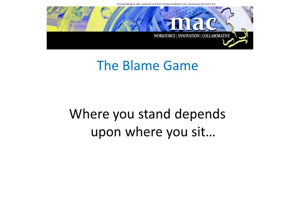 The Blame Game Where you stand depends upon where you sit…