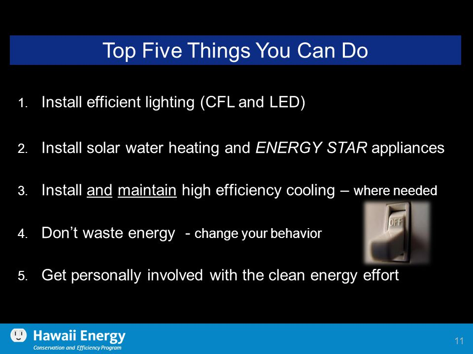 Conservation and Efficiency Program Top Five Things You Can Do 1. Install efficient lighting (CFL and LED) 2. Install solar water heating and ENERGY S
