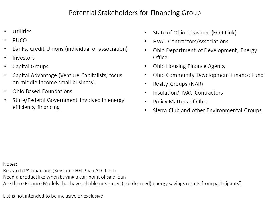 Potential Stakeholders for Financing Group Utilities PUCO Banks, Credit Unions (individual or association) Investors Capital Groups Capital Advantage (Venture Capitalists; focus on middle income small business) Ohio Based Foundations State/Federal Government involved in energy efficiency financing Notes: Research PA Financing (Keystone HELP, via AFC First) Need a product like when buying a car; point of sale loan Are there Finance Models that have reliable measured (not deemed) energy savings results from participants.