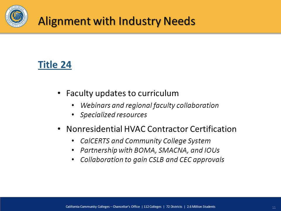 11 California Community Colleges – Chancellor's Office | 112 Colleges | 72 Districts | 2.6 Million Students Title 24 Alignment with Industry Needs Faculty updates to curriculum Webinars and regional faculty collaboration Specialized resources Nonresidential HVAC Contractor Certification CalCERTS and Community College System Partnership with BOMA, SMACNA, and IOUs Collaboration to gain CSLB and CEC approvals
