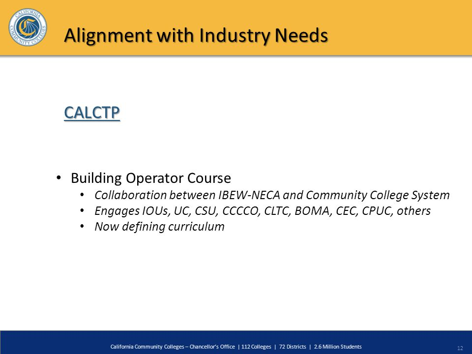 12 California Community Colleges – Chancellor's Office | 112 Colleges | 72 Districts | 2.6 Million Students CALCTP Alignment with Industry Needs Build
