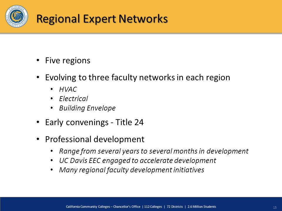15 California Community Colleges – Chancellor's Office | 112 Colleges | 72 Districts | 2.6 Million Students Regional Expert Networks Five regions Evolving to three faculty networks in each region HVAC Electrical Building Envelope Early convenings - Title 24 Professional development Range from several years to several months in development UC Davis EEC engaged to accelerate development Many regional faculty development initiatives