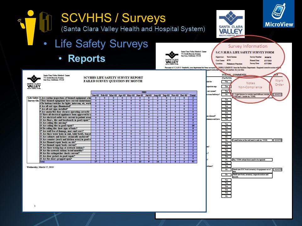 SCVHHS / Surveys (Santa Clara Valley Health and Hospital System) Life Safety Surveys Reports 17 Survey Information Notes Non-Compliance Work Order