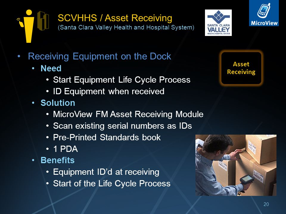 SCVHHS / Asset Receiving (Santa Clara Valley Health and Hospital System) Receiving Equipment on the Dock Need Start Equipment Life Cycle Process ID Equipment when received Solution MicroView FM Asset Receiving Module Scan existing serial numbers as IDs Pre-Printed Standards book 1 PDA Benefits Equipment ID'd at receiving Start of the Life Cycle Process 20 Asset Receiving