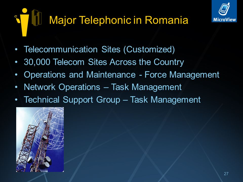 Major Telephonic in Romania Telecommunication Sites (Customized) 30,000 Telecom Sites Across the Country Operations and Maintenance - Force Management Network Operations – Task Management Technical Support Group – Task Management 27