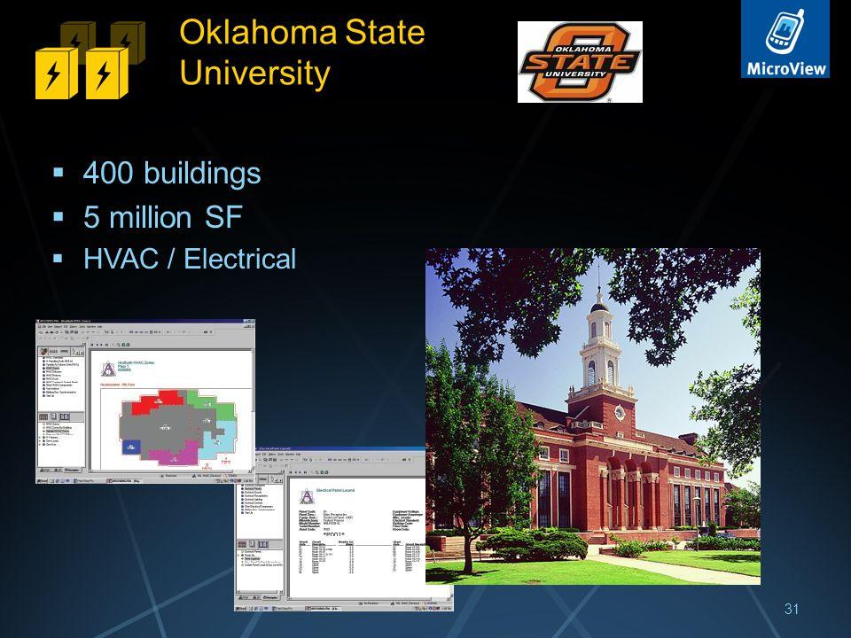 Oklahoma State University  400 buildings  5 million SF  HVAC / Electrical 31