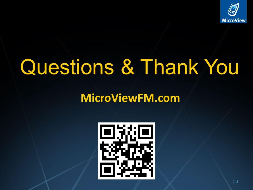 33 Questions & Thank You MicroViewFM.com