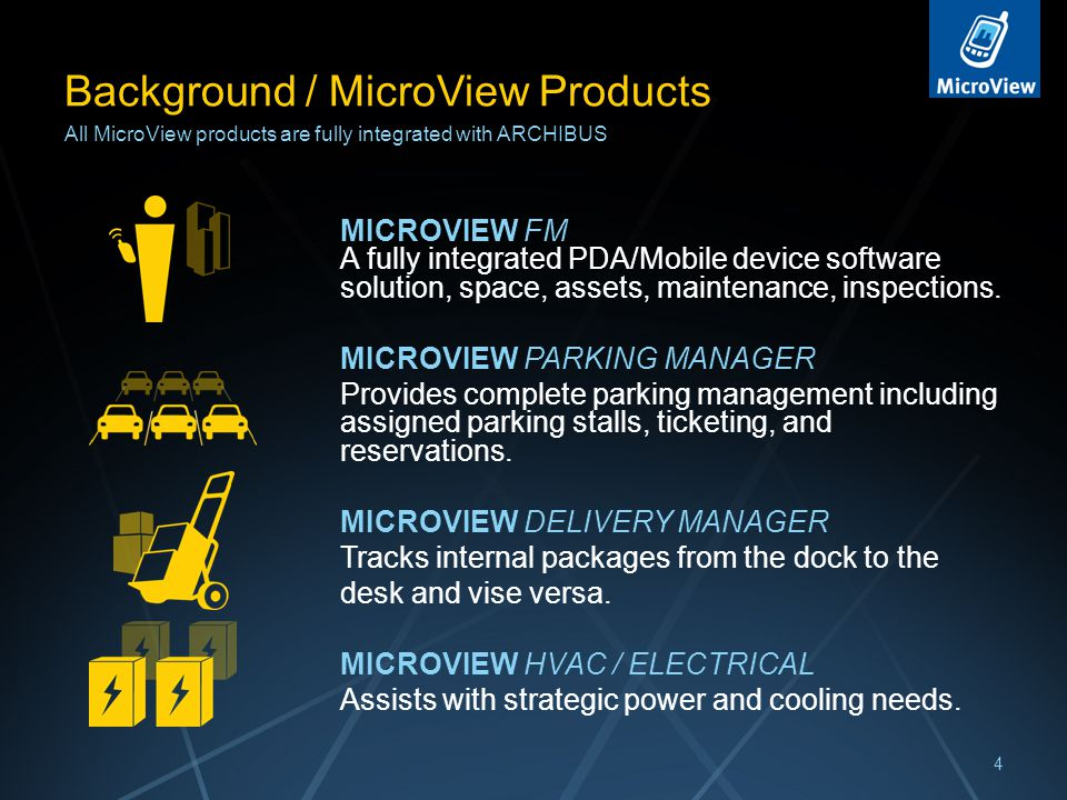 Background / MicroView Products MICROVIEW FM A fully integrated PDA/Mobile device software solution, space, assets, maintenance, inspections.