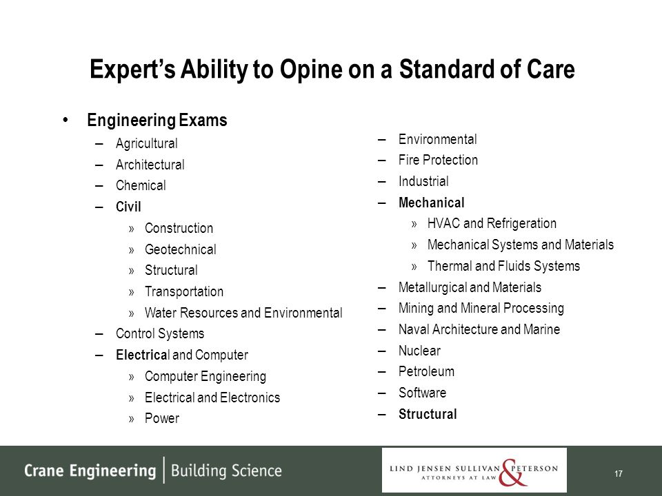 Expert's Ability to Opine on a Standard of Care Engineering Exams – Agricultural – Architectural – Chemical – Civil »Construction »Geotechnical »Structural »Transportation »Water Resources and Environmental – Control Systems – Electrica l and Computer »Computer Engineering »Electrical and Electronics »Power – Environmental – Fire Protection – Industrial – Mechanical »HVAC and Refrigeration »Mechanical Systems and Materials »Thermal and Fluids Systems – Metallurgical and Materials – Mining and Mineral Processing – Naval Architecture and Marine – Nuclear – Petroleum – Software – Structural 17