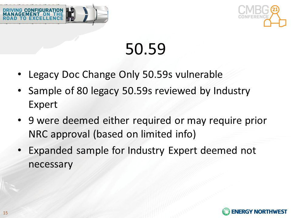 15 50.59 Legacy Doc Change Only 50.59s vulnerable Sample of 80 legacy 50.59s reviewed by Industry Expert 9 were deemed either required or may require prior NRC approval (based on limited info) Expanded sample for Industry Expert deemed not necessary
