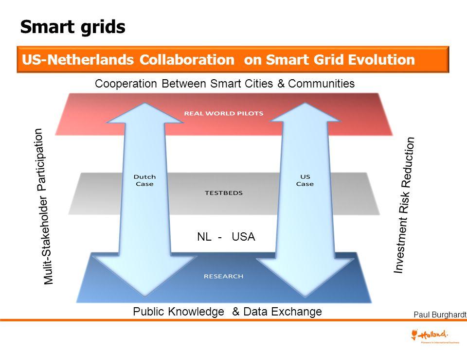 Smart grids US-Netherlands Collaboration on Smart Grid Evolution Public Knowledge & Data Exchange Mulit-Stakeholder Participation Investment Risk Redu