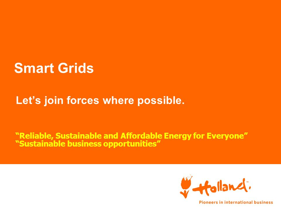 """Smart Grids Let's join forces where possible. """"Reliable, Sustainable and Affordable Energy for Everyone"""" """"Sustainable business opportunities"""""""