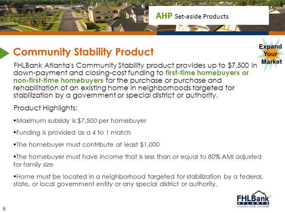 AHP Set-aside Products FHLBank Atlanta's Community Stability product provides up to $7,500 in down-payment and closing-cost funding to first-time home