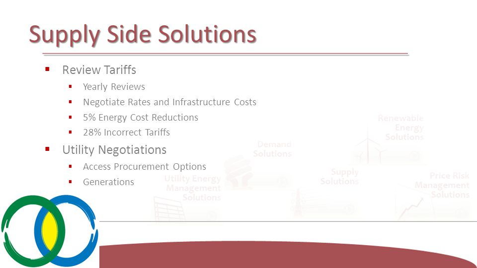 Supply Side Solutions  Review Tariffs  Yearly Reviews  Negotiate Rates and Infrastructure Costs  5% Energy Cost Reductions  28% Incorrect Tariffs  Utility Negotiations  Access Procurement Options  Generations